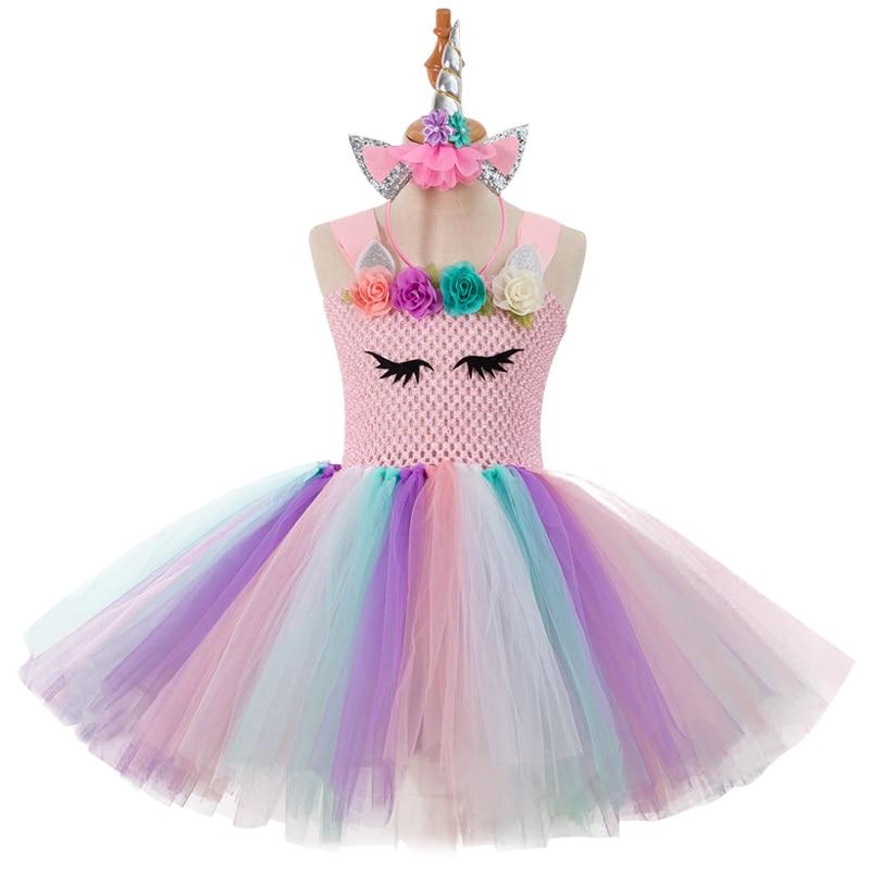 new girls unicorn tutu dress with headband baby kids