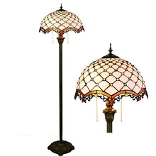 European style creative stained glass living room Bead Lighting Bedroom floor lamp Mediterranean white 16inch 40CM 110-240V(China)