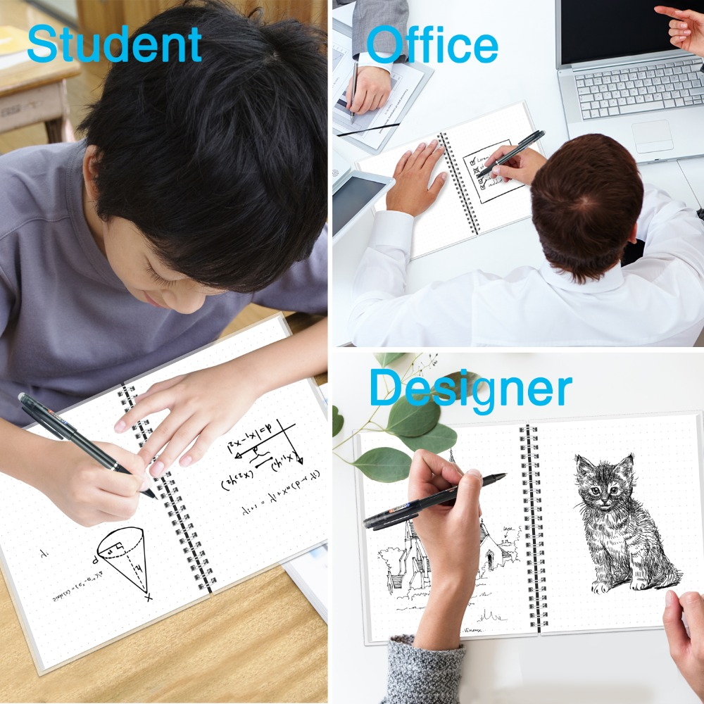 Waterproof NEWYES A4 Reusable Smart Notebook With Pen For Students