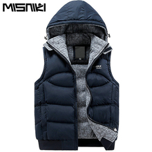 Misniki Новый стильный осень-зима жилет Для мужчин высокое качество капюшоном теплая куртка без рукавов жилет Для мужчин (Азиатский Размеры)