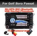 """7 """"Touch Screen 2 Din VW DVD Sistema de navegação Para O Assento Polo Bora Golf Jetta Tiguan Leon Skoda 3G GPS Bluetooth Radio Free câmera"""