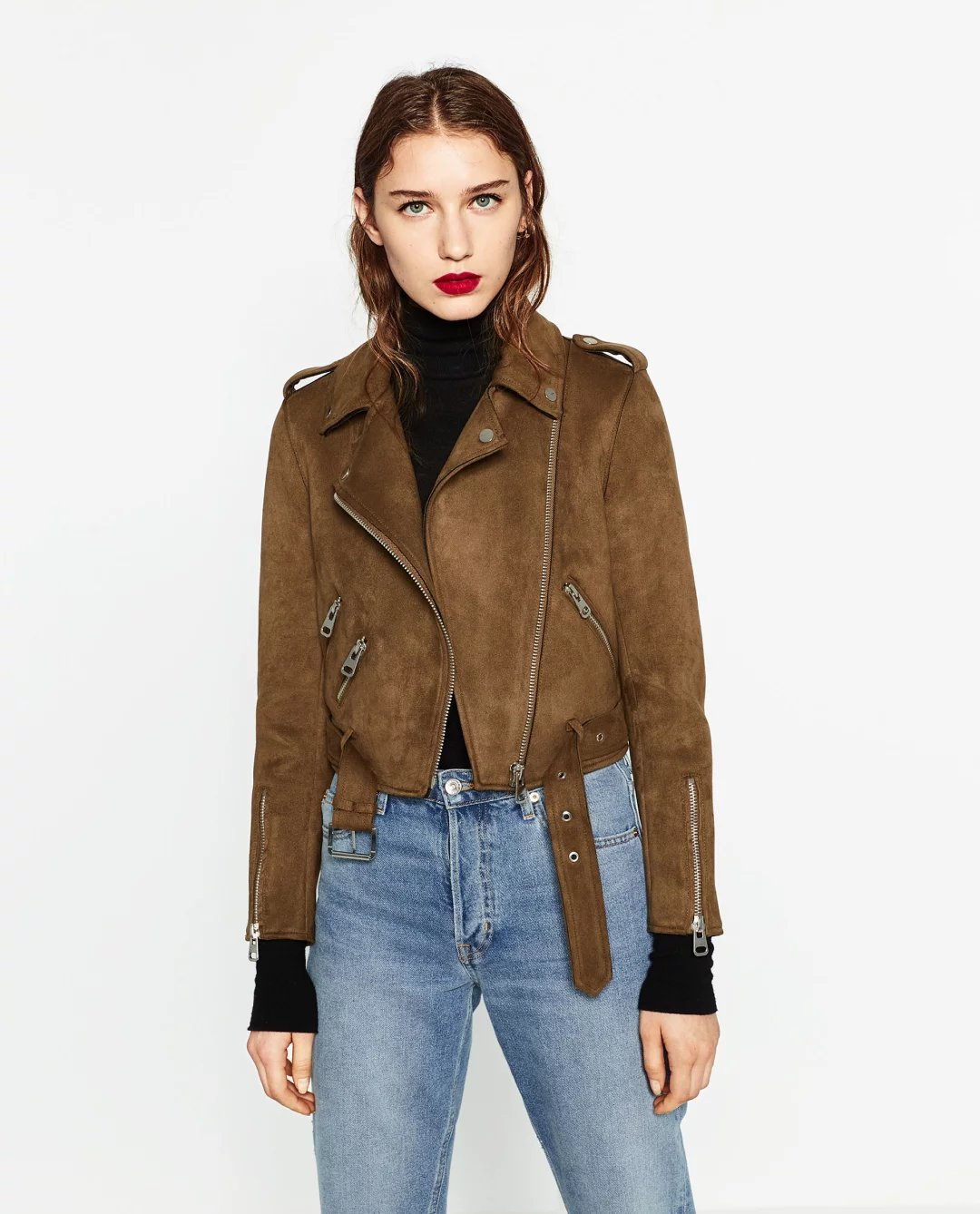 Women Basic Coats 2019 Streetwear Spring Solid Lapel Zippers Sashes   Suede   Motorcycle Fashion Faux   Leather   Jacket XS~L