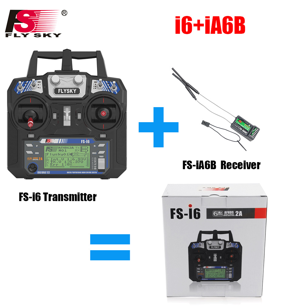 Flysky FS-i6 FS I6 2.4G 6ch RC Transmitter Controller FS-iA6 or FS-iA6B Receiver For RC Helicopter Plane Quadcopter Glider drone flysky 2 4g 10ch fs i10 rc transmitter with fs ia10 receiver for rc plane quadcopter glider