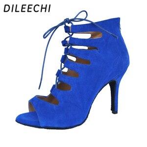 Image 3 - Dileechi sapatos de dança femininos, vermelho, azul, preto, veludo, sapatos de dança, festa de casamento, salsa, suave 8.5cm