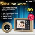 Sensível motion detect digital peephole door viewer câmera seucity gravável campainha vídeo para acesso à porta