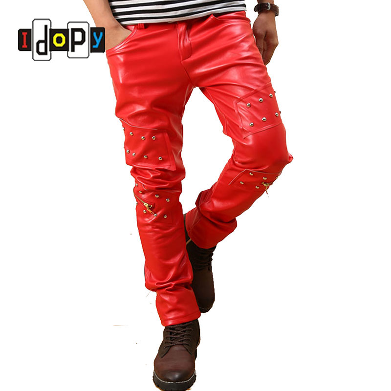 Men`s Punk Rock Red Studded Leather Motorcycle Hip Hop Hipster Night Club Biker Pants With Zippers Male