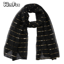 Winfox Fashion Black Red Sequins Crinkle Scarf Church Female Glitter Muslim Hijab Scarves Stole For Ladies Women