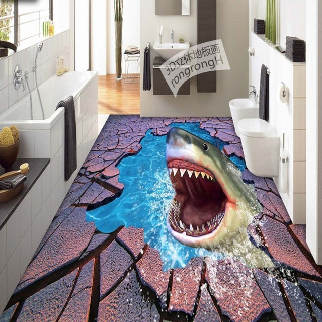 Free shipping sea world shark crack 3d floor painting thickened self adhesive living room for How do sharks use the bathroom