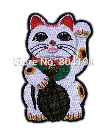 87 45 Maneki Neko Japonais Chanceux Chat Grenade Moral Motard Gilet Dessin Animé Fille Robe Garçon Enfants Enfants Brodé Patch Logo Badge In Patches