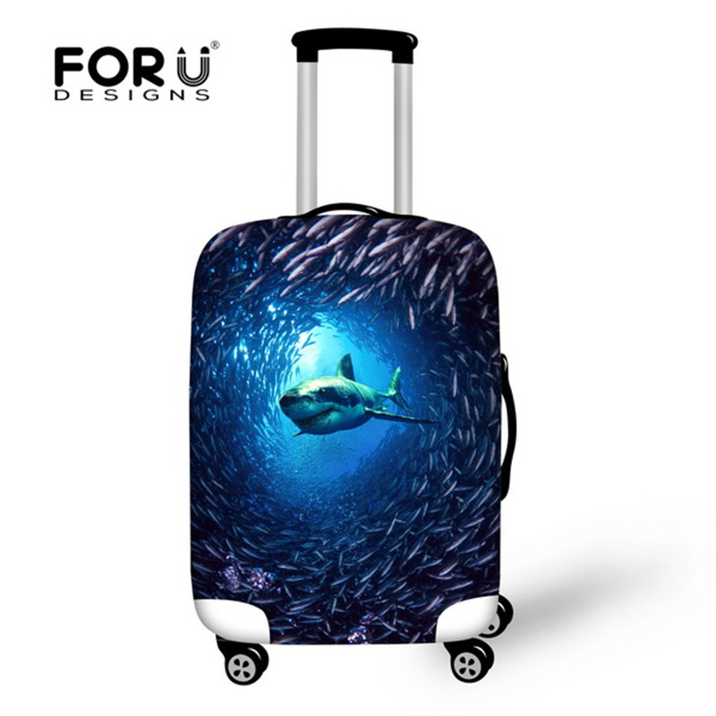 FORUDESIGNS 3D Ocean Animals Printing Travel Luggage Cover Apply To 18-28 Inch Trunk Cases 3D Shark Fish Pattern Suitcase Covers
