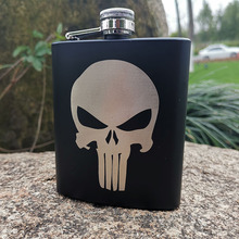 6oz/8oz Black Hip Flask Punisher  Skull Powder Coated stainless steel Laser Engraved gift outdoor Tactical gear