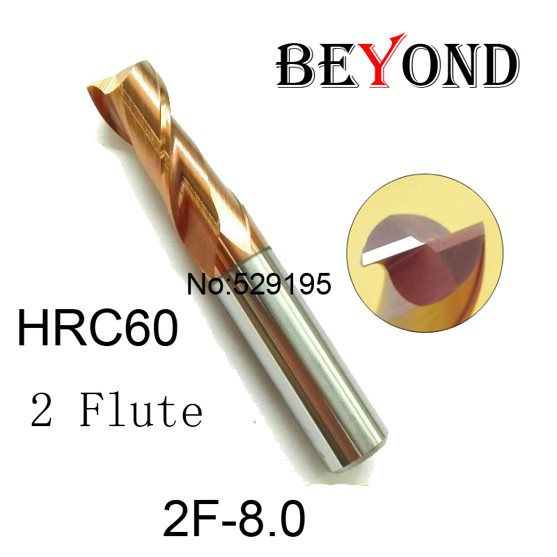 2F-8.0 HRC60,carbide Square Flatted End Mills coating:nano TWO flute diameter 8.0mm, The Lather,boring Bar,cnc,machine  цены