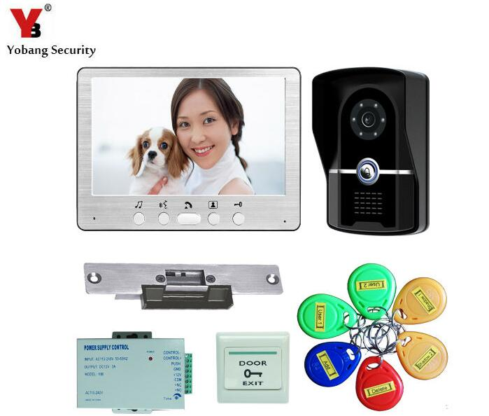 YobangSecurity 7 Inch Wired Video door Phone Doorbell Video Home Intercom 1-Camera 1-Monitor With Electronic Lock,RFID Keyfob yobangsecurity 10 inch lcd video doorbell intercom door phone camera system kit with 1 camera 1 monitor