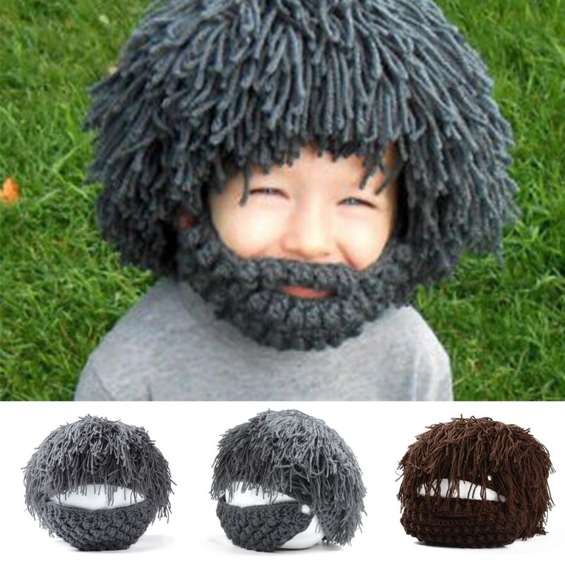 Unique Wigs Fake Beard Style Warm Hat Exaggerated Wild Man Style Knitting  Cap Knitting Wool Knitting Cap Unisex for Kids Adults 0ba7b214631