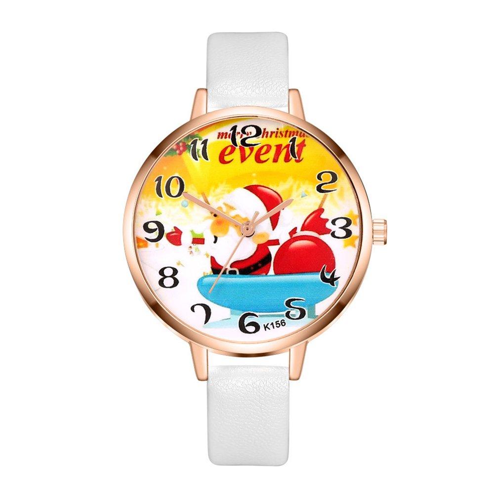 Classic Elegant Round Snowman Shape Dial Leather Strap Quartz Wrist Watch For Women Girls Valentine Christmas Students 2018
