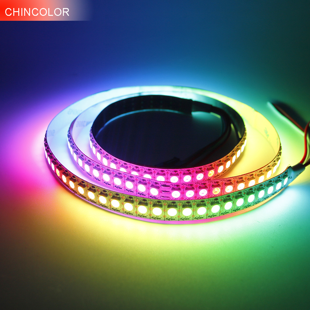1M 5M WS2812B led strip 30/60/96/144leds DC5V dearm color pixel strip Black White PCB WS2812 IC multi model fast ship IQ titanium ring