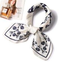 2019 Fashion Silk Scarf for Women Floral Print Female Square Scarfs Foulard Neckerchief Shawl Hair Scarves