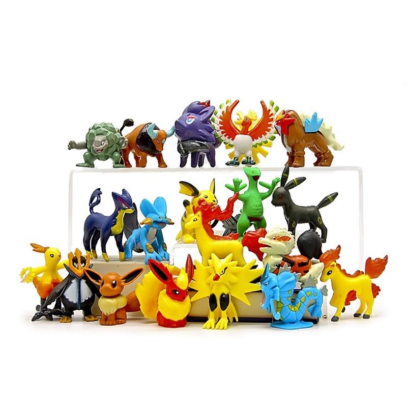 100pcs lot Random Delivery Pocket Monster Pikachu Snorlax Jigglypuff Zubat Bulbasaur Ivysaur Toys Model Kids for