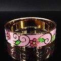 Fashion Plated Gold Stainless Steel Bangles for Women Flower Pink Enamel Cuff Bangle Bracelet women Jewelry B69122