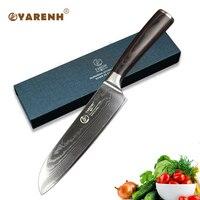 YARENH 7 inch Santoku knife damascus chef knife professnal kitchen knives best sharp slicing vegetable knife in kitchen