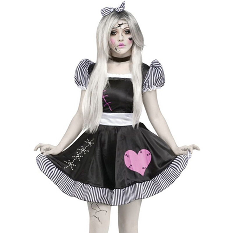2018 New Halloween Cosplay Role-Playing Dress Headband Necklace Broken Lolita Doll Women Costumes Gothic Sexy Maid Costume