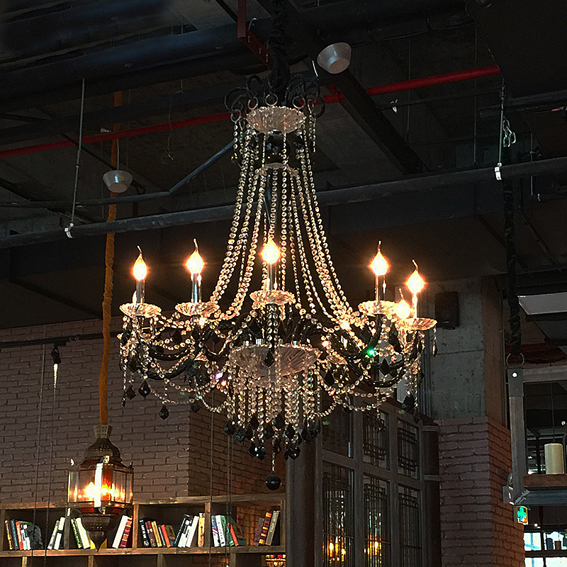 Hanging Light For Dining Room Vintage French Glass Crystal Chandelier Light Fixture Black Cottage American White Suspension Lamp