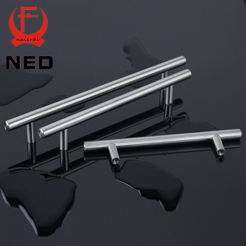 "NED 4″ ~ 24"" Stainless Steel Handles Diameter 10mm Kitchen Door Cabinet T Bar Straight Handle Pull Knobs Furniture Hardware"