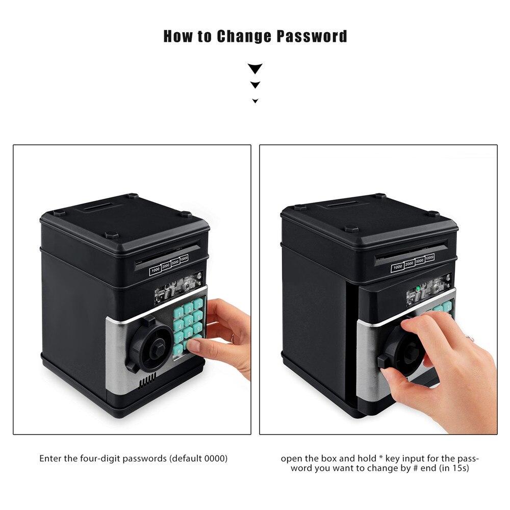 Electronic Piggy Bank ATM Password Money Box Cash Coins Saving Box ATM Bank Safe Box Automatic Deposit Banknote Christmas Gift 24