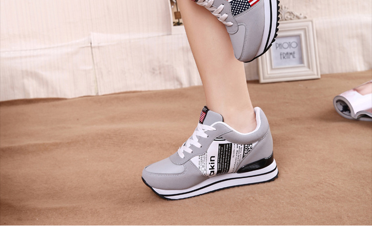 7d9ba97e3ff Fashion Women Height Increasing Wedges Sneakers Casual Platforms Shoes  Woman PU Leather 8CM Heel Lace Up Sapato Tenis Feminino