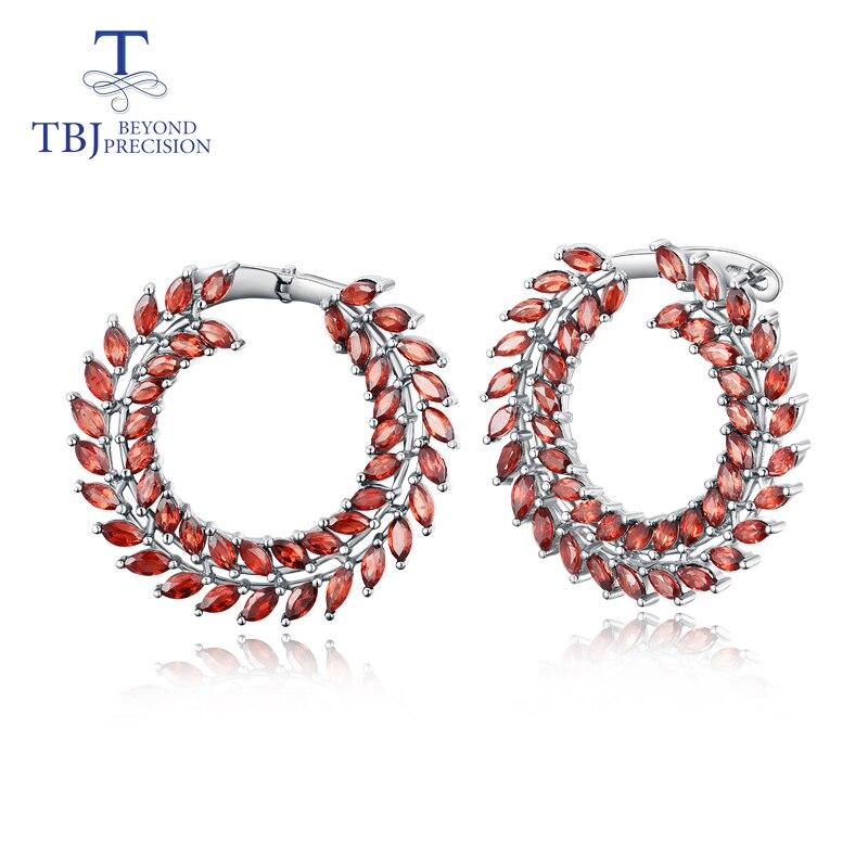 TBJ 925 sterling silver new design natural gemstone garnet leaf big size earrings fine jewelry for