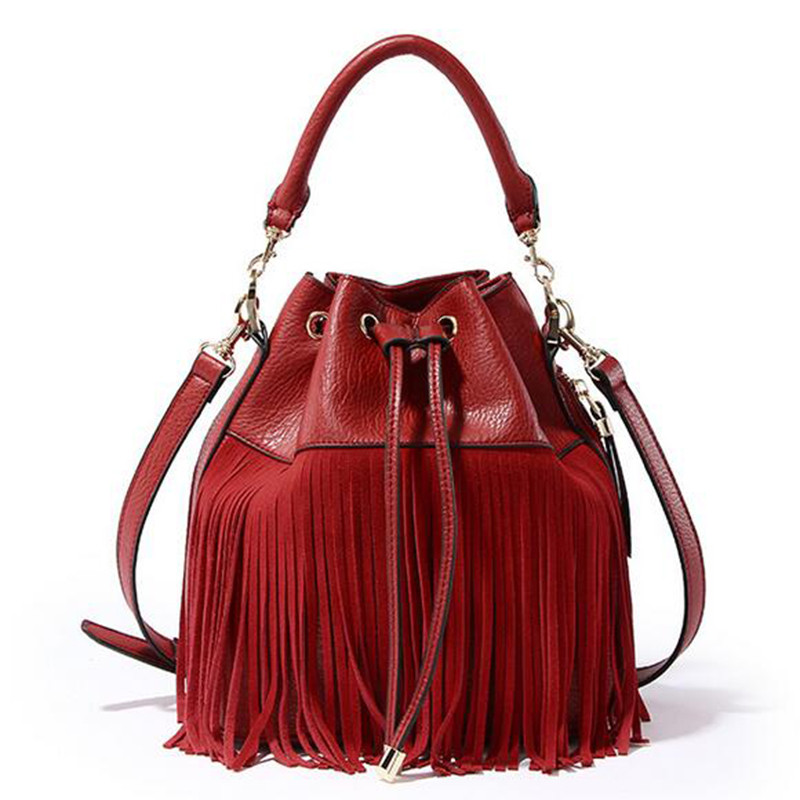 ФОТО 2016 women Small bucket tote bag tassels genuine leather bag women messenger bags famous brand designer handbags high quality