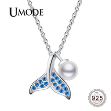 UMODE 2019 New 925 Sterling Silver Simulated Pearl Pendant Necklaces for Women Blue Zircon Diamond Link Chian Jewelry ALN0463 ztung gop9 for us fashion ziron flowers pendant send with white and blue material 925 silver chian for women wonderful gift