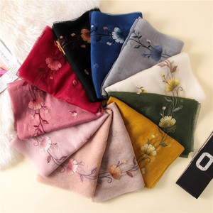 Image 4 - New silk wool scarf women fashion floral embroidery shawl wrap high quality pashmina winter neck scarf bandana face mask hijab