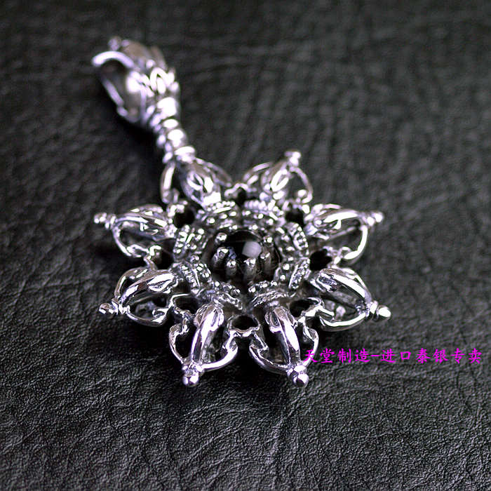 Thailand imported 925 Sterling Silver Pendant, double Vajra цены