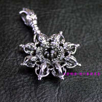 Thailand imported 925 Sterling Silver Pendant, double Vajra
