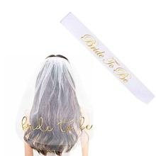 Letter Bride To Be Sash white Veil kit for Bachelorette Hen Party Bridal Shower games Wedding Decora