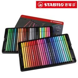 Stabilo Watercolor Pen 40 Colors 1mm Felt Tip Art Marker Fibre Tip Iron Box Washable for Artist, Kids Stabilo 68