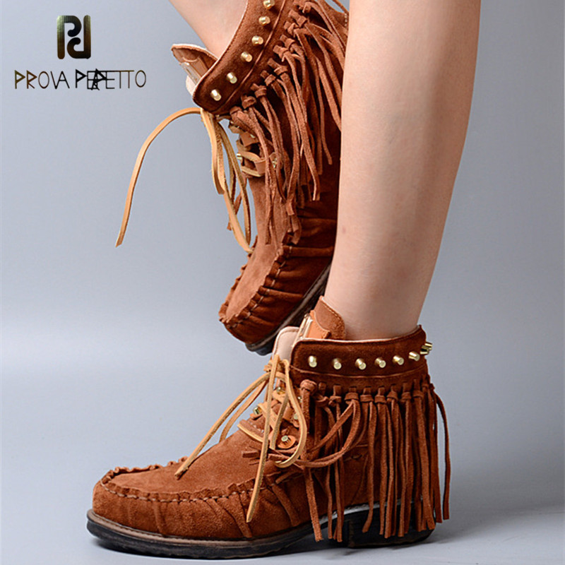 Prova Perfetto Euramerican Style Women Cow Suede Fringe Ankle Boots Rivet Suede Leather Fringe Lace Up Short Boots Light Brown haruyama гель лак 101