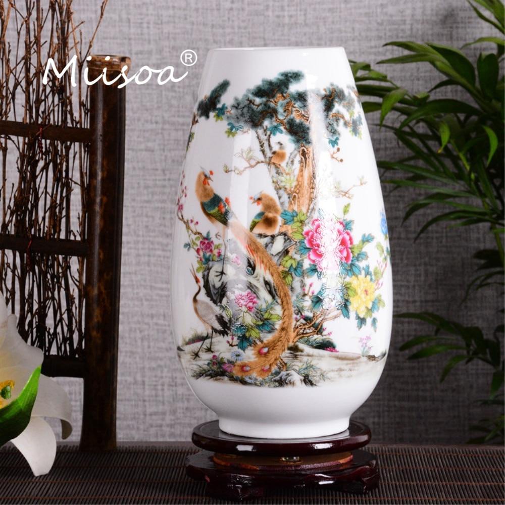 Miisoa Jingdezhen Ceramic Vase Vintage Chinese Style Smooth Surface Home Decoration Furnishing Articles Bottle Vase with Base vase
