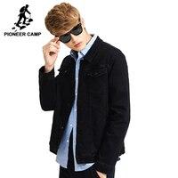 Pioneer Camp New Solid Black Denim Jacket Men Brand Clothing Casual Denim Coat Male Top Quality
