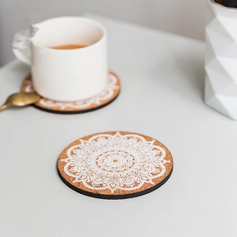 Tableware Decor Anti-hot Heat Pad Cork Coasters Heat Resistant Wooden Cup Mat