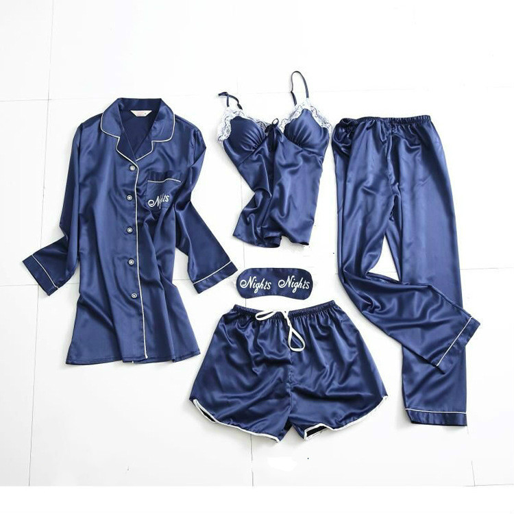 High Quality Autumn Women   Pajamas     Sets   Satin Sleepwear 5 Piece   Set   Silk Pijama Long Sleeve Nightwear Home Clothing with Blinder