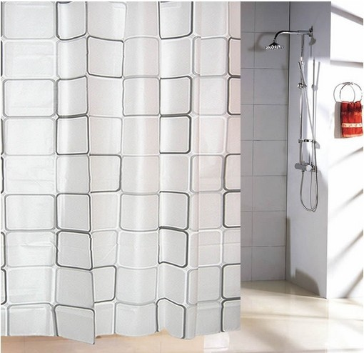 Curtains Plastic Shower Curtain With 12 Hooks Black White Grid Print Waterproof Blinds For Bathroom 4 Sizes Decor In From Home