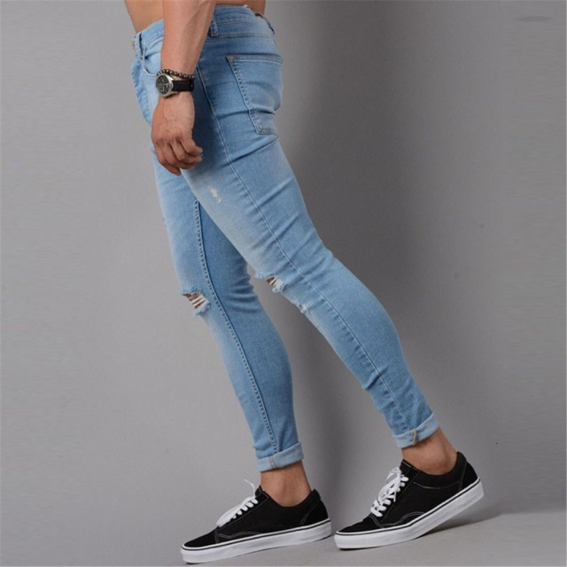 2018 Ripped Jeans Men Hip Hop Skinny Men's Destroyed Hole Jeans Stretch Blue Black Fashion Slim Fit Pencil Pants Dropshipping