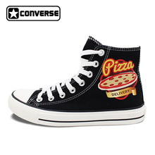 ced214f235aa Unisex Black Converse Chuck Taylor Pizza Design High Top Canvas Sneakers  Flats