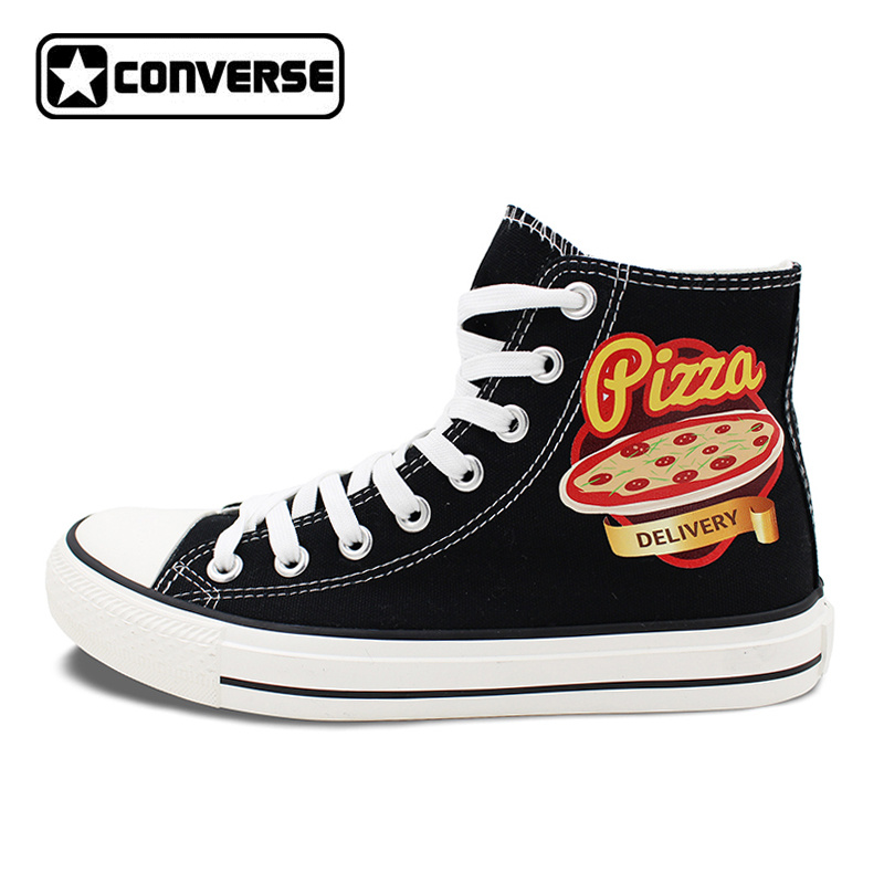 Unisex Black Converse Chuck Taylor Pizza Design High Top Canvas Sneakers Flats Lace Up Shoes цена