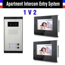 2 Units Video Doorbell 7 Inch Monitor Video Intercom Doorp hone interPhone System Apartment Video DoorPhone Kit night vision