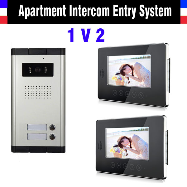2 Units Video Doorbell 7 Inch Monitor Video Intercom Doorp hone interPhone System Apartment Video DoorPhone Kit night vision video intercom system 4 3 tft lcd handset screen 2 monitor wired video doorphone for 2 apartment night vision camera