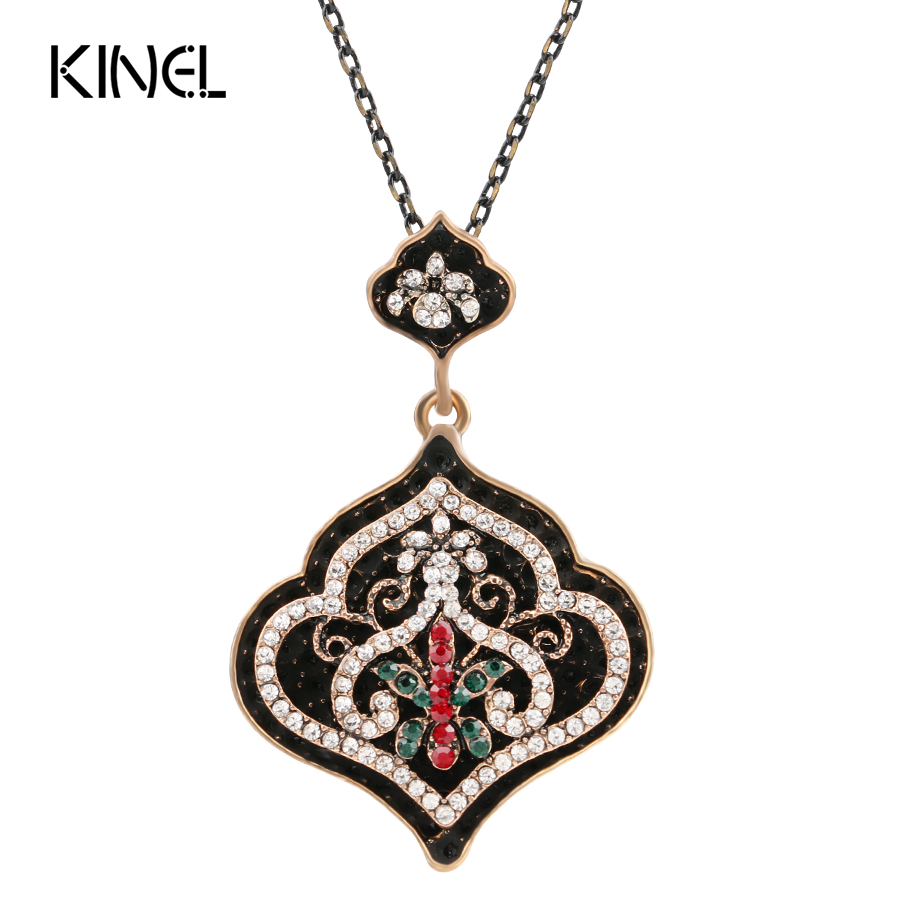 Fashion Vintage Jewelry Turkey Turquoise Pendant Necklace For Women Plating Ancient Gold Choker Bohemia Black Enamel Necklace Ожерелье