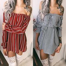 Striped Mini Dress Women Shirt Dress Sexy Off Shoulder Party Club Blouse Dress Women Elegant Vestidos WS3452O